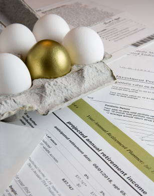 Golden Egg with Retirement Investment Documents